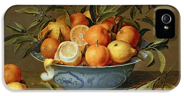 Still Life With Oranges And Lemons In A Wan-li Porcelain Dish  IPhone 5 Case by Jacob van Hulsdonck