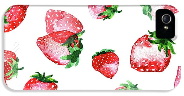 Strawberries IPhone 5 Case by Varpu Kronholm