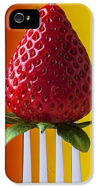 Strawberry On Fork IPhone 5 Case by Garry Gay