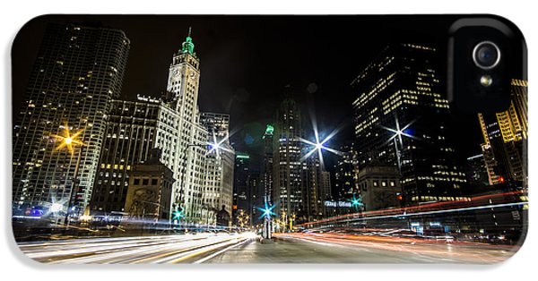 streaks of light zooming by you  on Chicago's Mag Mile IPhone 5 Case