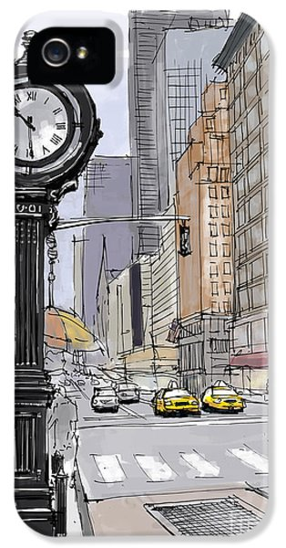 Clock iPhone 5 Case - Street Clock On 5th Avenue Handmade Sketch by Drawspots Illustrations