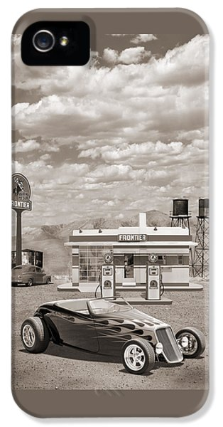 Street Rod At Frontier Station Sepia IPhone 5 Case by Mike McGlothlen