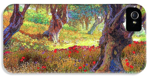 Tranquil Grove Of Poppies And Olive Trees IPhone 5 / 5s Case by Jane Small