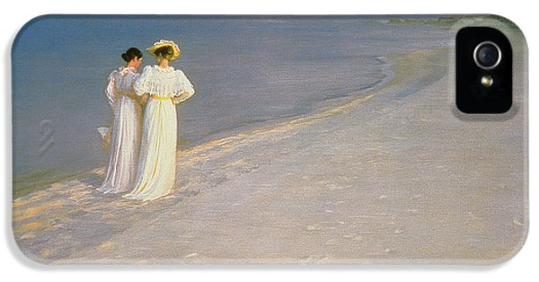 Summer Evening On The Skagen Southern Beach With Anna Ancher And Marie Kroyer IPhone 5 Case by Peder Severin Kroyer