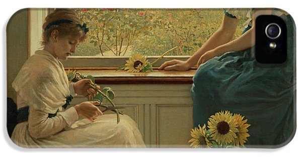 Sun And Moon Flowers IPhone 5 Case by George Dunlop Leslie