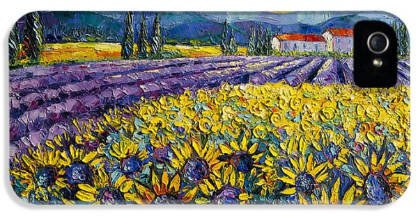 Sunflowers And Lavender Field - The Colors Of Provence IPhone 5 Case by Mona Edulesco