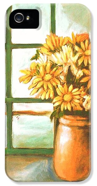IPhone 5 Case featuring the painting Sunflowers In Window by Winsome Gunning