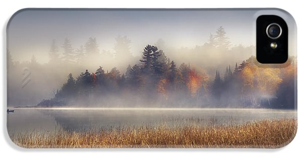 Boat iPhone 5 Case - Sunrise In Lake Placid  by Magda  Bognar