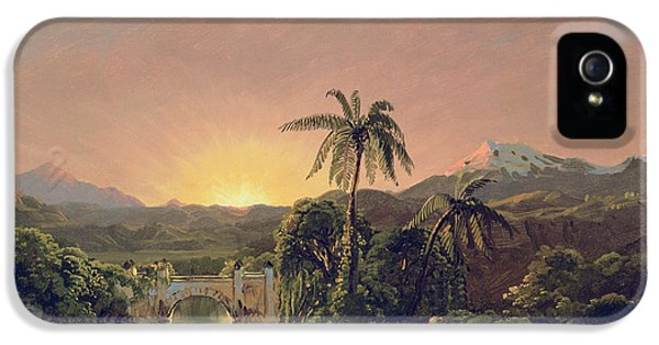 Sunset In Equador IPhone 5 Case by Frederic Edwin Church