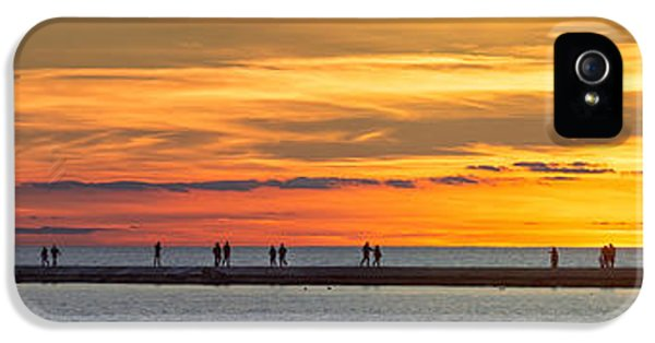 IPhone 5 Case featuring the photograph Sunset Over Ludington Panoramic by Adam Romanowicz