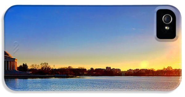 Sunset Over The Jefferson Memorial  IPhone 5 Case by Olivier Le Queinec