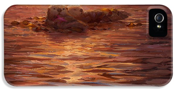 Sunset Snuggle - Sea Otters Floating With Kelp At Dusk IPhone 5 Case