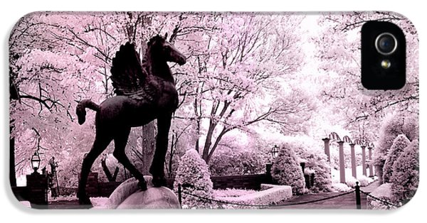 Surreal Infared Pink Black Sculpture Horse Pegasus Winged Horse Architectural Garden IPhone 5 Case by Kathy Fornal