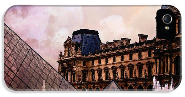 Louvre iPhone 5 Case - Surreal Louvre Museum Pyramid Watercolor Paintings - Paris Louvre Museum Art by Kathy Fornal