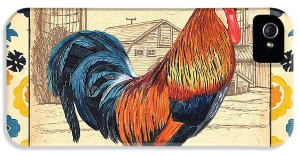 Suzani Rooster 2 IPhone 5 Case by Debbie DeWitt