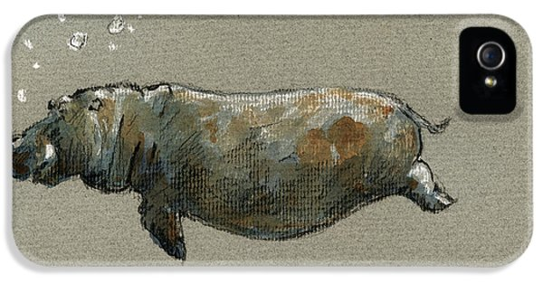 Swimming Hippo IPhone 5 Case by Juan  Bosco