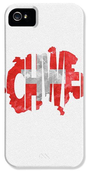 Switzerland Typographic Map Flag IPhone 5 Case