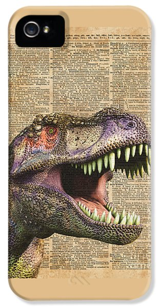 T-rex,tyrannosaurus,dinosaur Vintage Dictionary Art IPhone 5 Case by Jacob Kuch