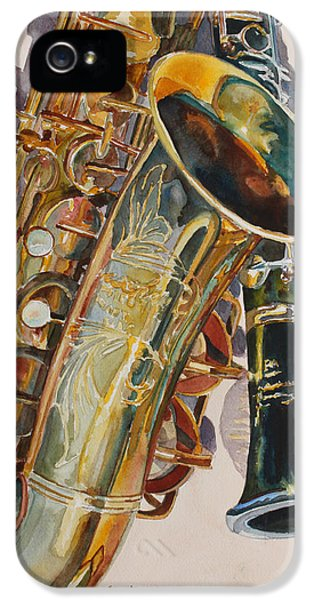 Saxophone iPhone 5 Case - Taking A Shine To Each Other by Jenny Armitage