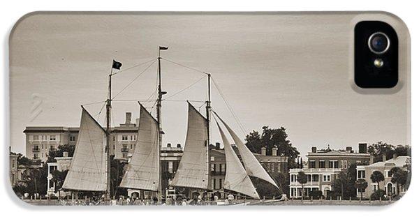 Tall Ship Schooner Pride Off The Historic Charleston Battery IPhone 5 Case by Dustin K Ryan