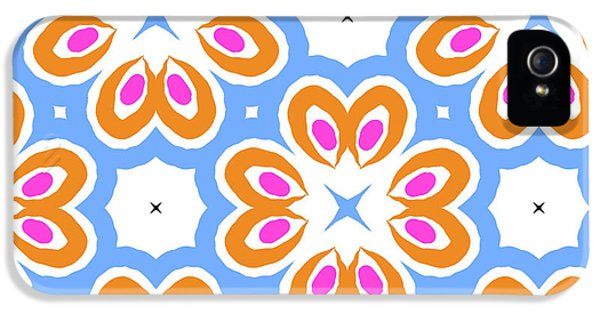 Tangerine And Sky Floral Pattern- Art By Linda Woods IPhone 5 Case