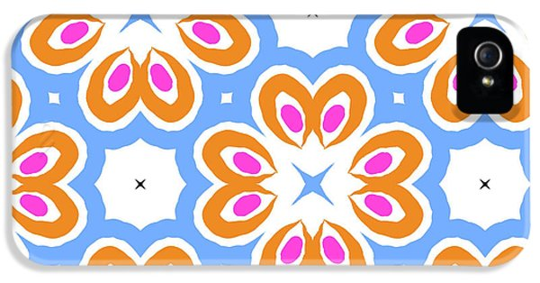 Tangerine And Sky Floral Pattern- Art By Linda Woods IPhone 5 Case by Linda Woods