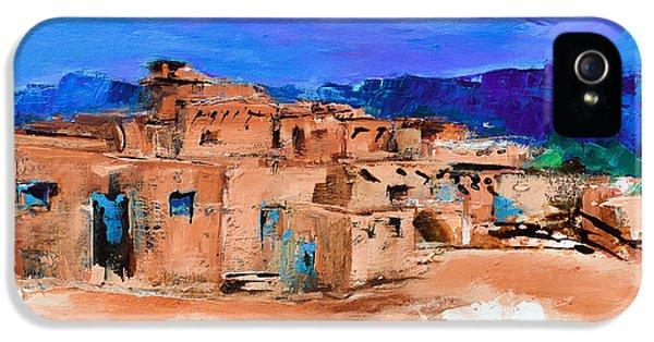 Taos Pueblo Village IPhone 5 Case by Elise Palmigiani