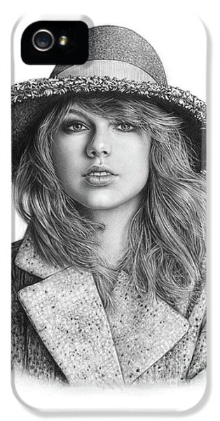 Taylor Swift Portrait Drawing IPhone 5 Case by Shierly Lin