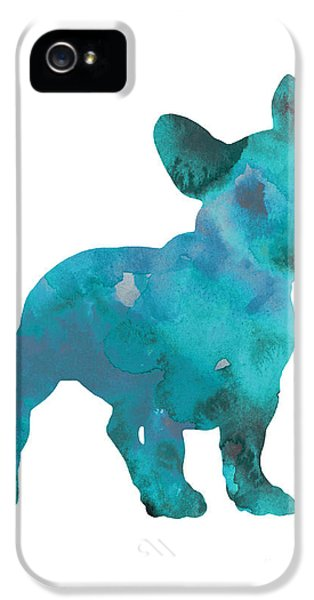 Dog iPhone 5 Case - Teal Frenchie Abstract Painting by Joanna Szmerdt