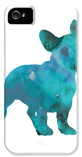 Teal Frenchie Abstract Painting IPhone 5 Case by Joanna Szmerdt
