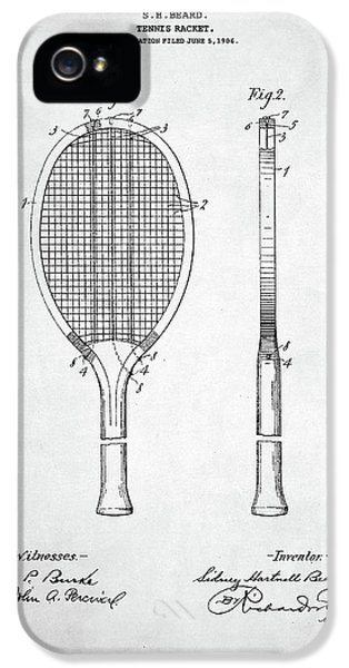 Tennis Racket Patent 1907 IPhone 5 Case