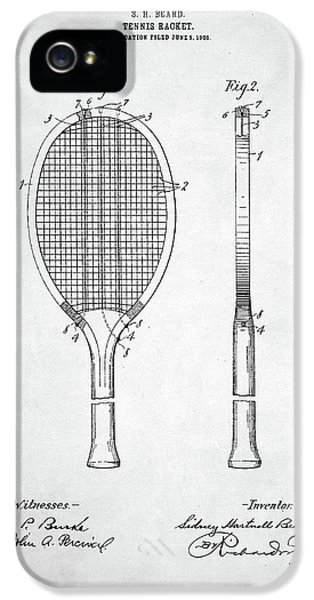 Tennis Racket Patent 1907 IPhone 5 Case by Taylan Apukovska