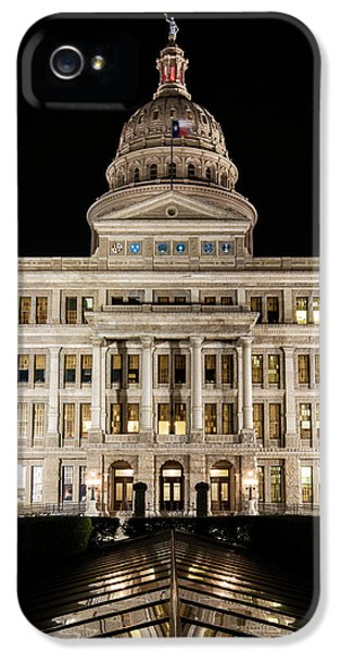 Texas State Capitol Night Reflection IPhone 5 Case by Stephen Stookey
