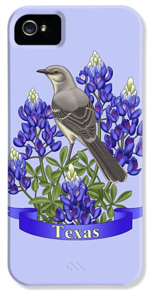 Mockingbird iPhone 5 Case - Texas State Mockingbird And Bluebonnet Flower by Crista Forest