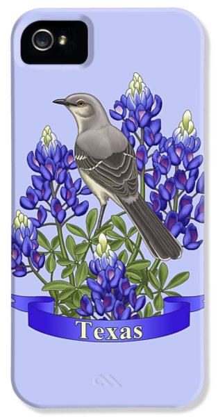 Texas State Mockingbird And Bluebonnet Flower IPhone 5 / 5s Case by Crista Forest