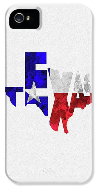 Texas Typographic Map Flag IPhone 5 Case