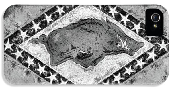 The Arkansas Razorbacks Black And White IPhone 5 Case by JC Findley