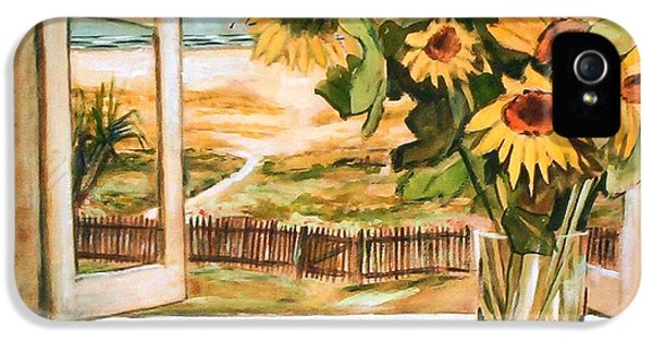 IPhone 5 Case featuring the painting The Beach Sunflowers by Winsome Gunning