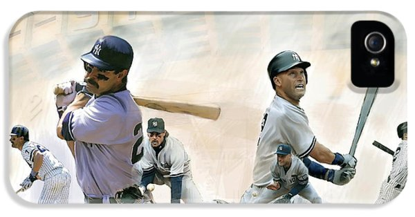 Derek Jeter iPhone 5 Case - The Captains II Don Mattingly And Derek Jeter by Iconic Images Art Gallery David Pucciarelli
