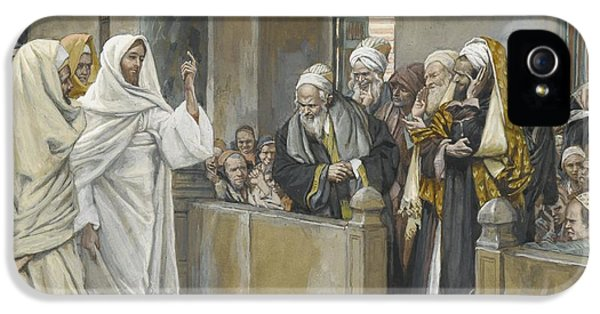 The Chief Priests Ask Jesus By What Right Does He Act In This Way IPhone 5 Case by James Jacques Joseph Tissot