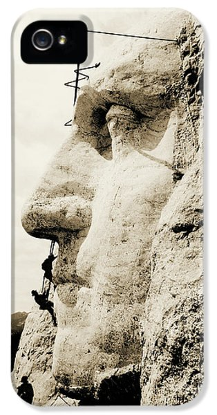 The Construction Of The Mount Rushmore National Memorial, Detail Of George Washington IPhone 5 Case