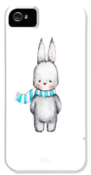 The Drawing Of Cute Bunny In Scarf IPhone 5 Case by Anna Abramska