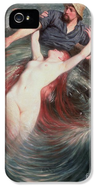 Mermaid iPhone 5 Case - The Fisherman And The Siren by Knut Ekvall