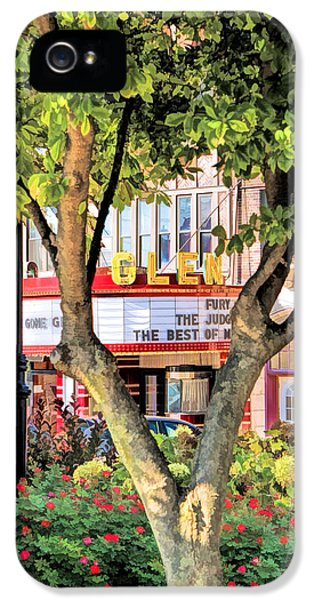 IPhone 5 Case featuring the painting The Glen Movie Theater by Christopher Arndt
