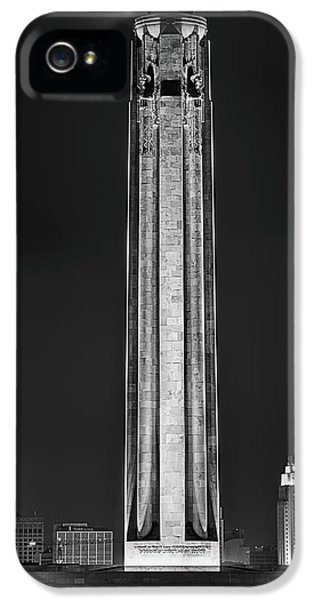 IPhone 5 Case featuring the photograph The Liberty Memorial Black And White by JC Findley