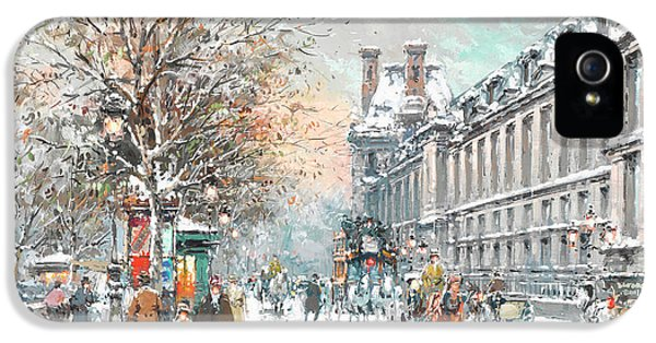 Louvre iPhone 5 Case - The Louvre-winter by Antoine Blanchard