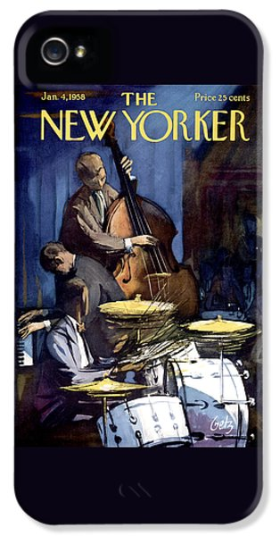 Drum iPhone 5 Case - The New Yorker Cover - January 4th, 1958 by Arthur Getz