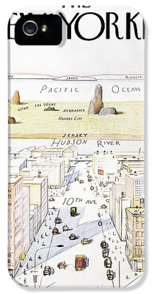 Pacific Ocean iPhone 5 Case - New Yorker March 29, 1976 by Saul Steinberg