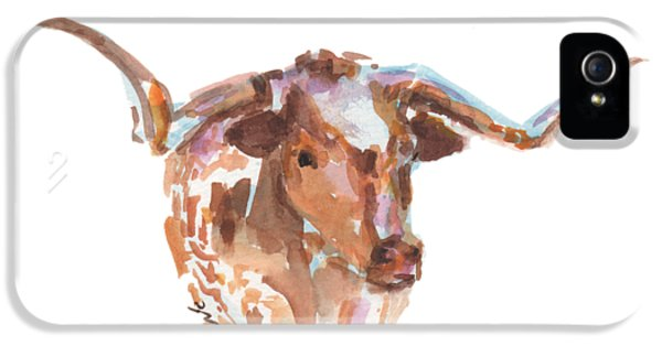 Cow iPhone 5 Case - The Original Longhorn Standing Earth Quack Watercolor Painting By Kmcelwaine by Kathleen McElwaine
