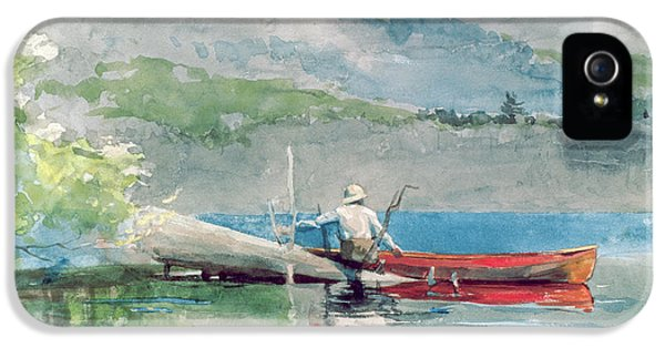 The Red Canoe IPhone 5 Case by Winslow Homer